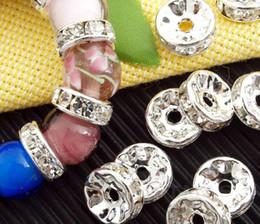 Mic rondas de prata on-line-Venda por atacado - MIC NO ESTOQUE 100pcs / lot Branco Banhado A Prata Strass Cristal Rodada Beads Spacer Beads 10mm