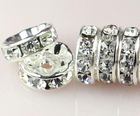 Commercio all'ingrosso - MIC IN MAGAZZINO 100 pz / lotto Bianco argento placcato strass cristallo rotondo perline perline distanziatore 10mm