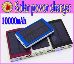 Wholesale High Capacity Portable Charger - High Capacity Solar Charger and Battery 10000mAh Solar Panel Dual Charging Ports portable power bank for Cell phone MP3 MP4