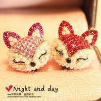 Wholesale Dust Plug Fox - Pearl small fox hyraxes for iphone for apple 4s for SAMSUNG mobile phone dust plug wholesale free shipping