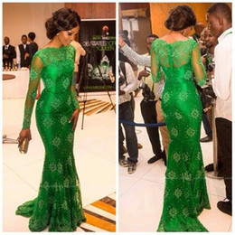 Discount emerald green evening dresses - emerald green lace prom dresses with high neck and long sleeves illusion mermaid celebrity dresses formal evening gowns