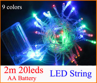 Wholesale Pink Mini String Lights - 3XAA Battery 2m 20 LED string MINI FAIRY LIGHTS BATTERY power OPERATED White Warm white Blue Red Yellow Green Pink Purply multi-color