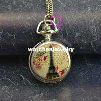 Wholesale Eiffel Tower Pocket Watches - new low price good quality fashion lady girl child women mirror colorful yellow paris eiffel tower picture pocket watch necklace