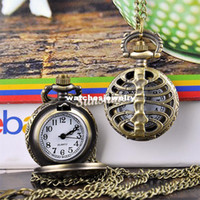 Wholesale Fishbone Chain - Promotion 10pcs lot Fishbone Hollow Pocket Watch Vintage Style Bronze Steampunk Quartz Necklace Pendant Chain Clock 19317