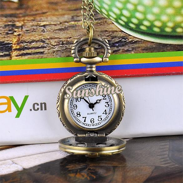 Promoción 10 unids / lote Fishbone Hollow Reloj de Bolsillo Estilo Vintage Bronce Steampunk Collar de Cuarzo Colgante Reloj de Cadena 19317