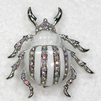 Wholesale Crystal Rhinestone Enameling Brooches Beetles Inse...