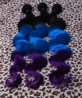 Oxette dip dye Blue purple ombre virgin brazilian human hair...