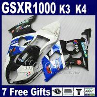 Wholesale White Fairings For Suzuki - Fairing kit for SUZUKI GSXR 1000 K3 2003 2004 custom fairings set GSXR1000 03 04 white blue black ABS bodykits GSX R1000 SF55 +7 gifts