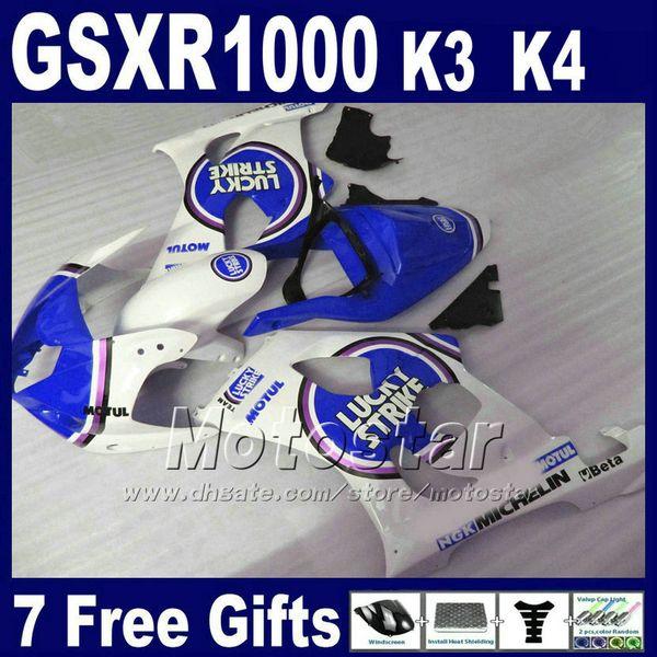 Juego de carenados ABS para SUZUKI K3 2003 2004 GSXR 1000 GSX-R1000 03 04 GSXR1000 kit de carenado LUCKY STRIKE azul blanco de alto grado SF81
