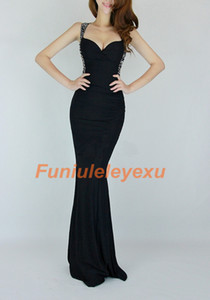 Wholesale 2014 Sexy Mermaid Floor Length Prom Dresses Beaded Open Back Criss Cross Strap Formal Evening Gowns