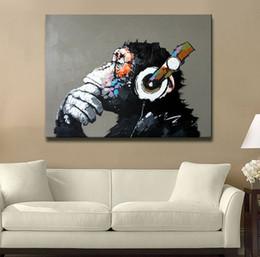 Ручная роспись Аннотация Живопись маслом на холсте Размышление Горилла без рамы Орангутанг Картинное искусство для украшения дивана 1 шт.