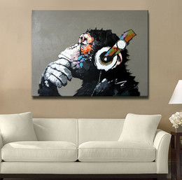 Wholesale Hand Oil Paint - Hand Painted Abstract Animal Oil Painting on Canvas Thinking Gorilla unframed Orangutan Picture Art for Sofa Wall Decoration 1pc