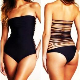 Wholesale Tassel Swimwear Monokini - S5Q Sexy Black Women Straps Back Monokini Tassel Bathing Suit Swimwear One Piece AAADCO