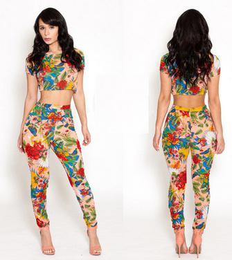 2014 nova moda estampa floral elegante duas peças sexy clube macacões macacão macacões bodysuits mulheres roupa da senhora