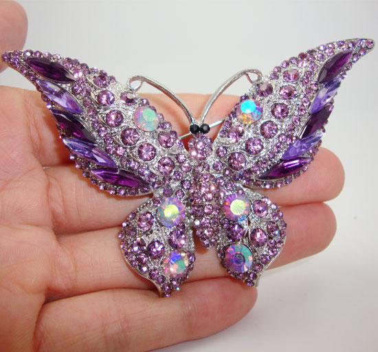 Wholesale - fashion purple crystal rhinestone butterfly silver -plated brooch for women Beautiful insect pins