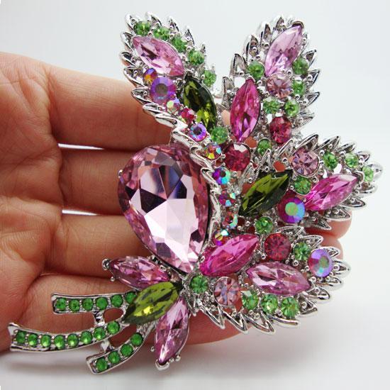 Partihandel -2014 Mode Vacker färgad Crystal Rhinestone Flower Leaf Decorating Style Brosch Pin Pendant