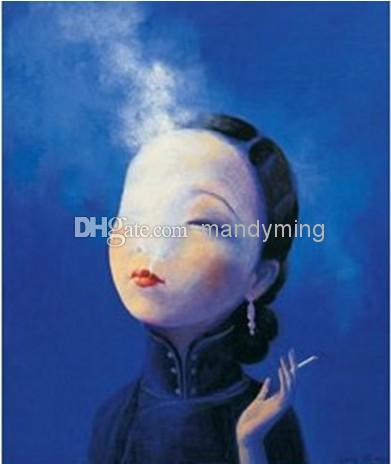 Hand Painted Figure Painting on Canvas Smoking Beauty Yuling Ruan People Oil Art for Home Wall Decoration