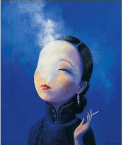 Hand Painted Figure Painting on Canvas Smoking Beauty Yuling Ruan People Oil Art for Home Wall Decoration 1pc
