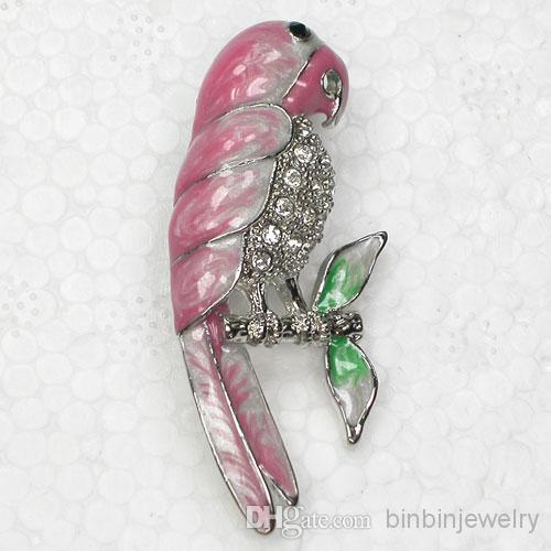 12 adet / grup Toptan Kristal Rhinestone Emaye Papağan Broşlar Moda Kostüm Pin Broş Takı hediye C2097