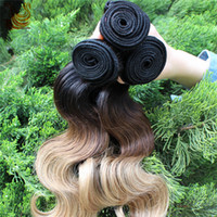 2014 Full Head Natural Wave Three Tone 5A Ombre Couleur Brazilian Virgin Hair Extensions 3Pcs Remy Hair Weave Body Wave Weft DHL Livraison gratuite