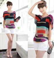 Wholesale Striped Shirt Lady - XS -XXL Women Striped chiffon Shirt Multi-colour print shirts lady fashion plus Loose Short Sleeve casual Shirt tops shirt Free Shipping 979