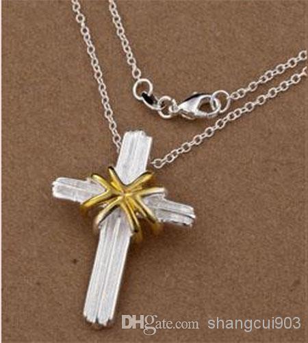 Новое прибытие ювелирные изделия 6 стилей различных 20 шт./лот 925 серебряный крест кулон подвески O цепи ожерелье 18 дюймов горячая Бесплатная доставка
