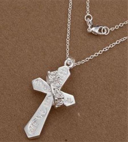 Nouvelle arrivée bijoux de mode 6 styles différents / 925 pendentif croix en argent Charmes O Chaînes Collier 18 pouces chaud livraison gratuite