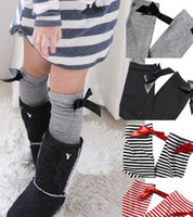 Wholesale Girls Plain Leggings - 4 Colors Children Girls Ribbon Bow Plain Black Grey Striped Socking Kids Princess Cotton Spring Leggings Socks Foot Wear B3445