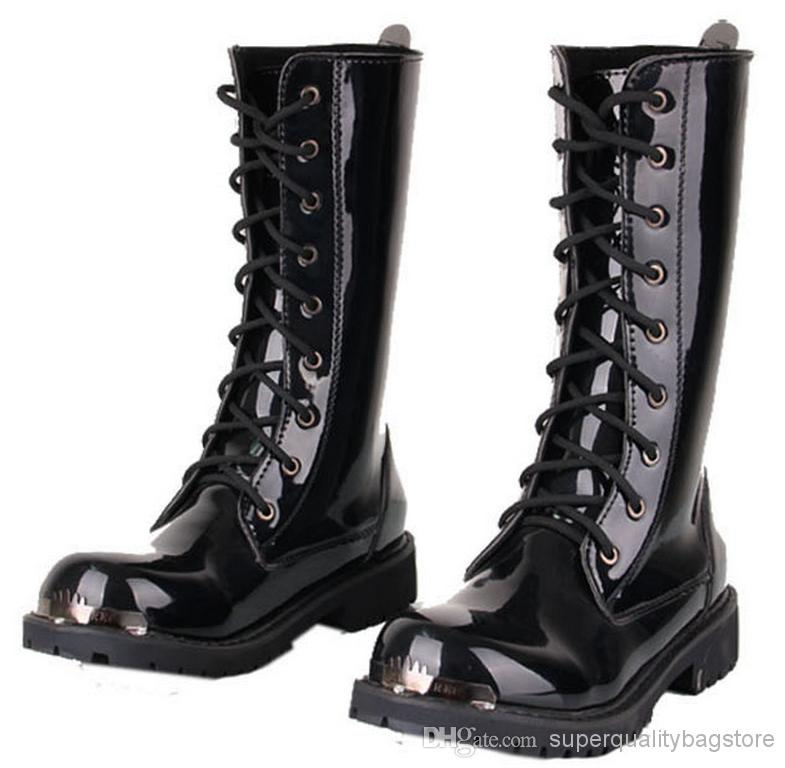 Men'S Knee High Boots,Black Punk Patent Leather Lace Up Shoes ...