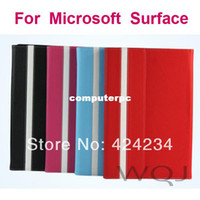 Wholesale Microsoft Surface Rt Cover Case - Flip Leather Cover Stand Case for Microsoft Surface Pro RT 10.6 inch Tablet PC 3pcs set(1case+1film+1stylus), Free Shipping