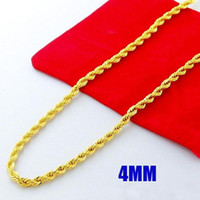 """Wholesale 24k gold necklace twist chain - Most popular Men's Fashion New Style Necklace 24K Gold Plated 4MM Twist Rope Chain Necklace 20"""" 22"""" 24""""Hot Free Shipping 1pcs"""