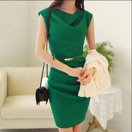 Wholesale Drape Puff - OL Elegant Bandage Dress Fashion Women's Office Dress Ladies' Sleeveless Clothes Dress With Belt 2015 Summer New Free Shipping