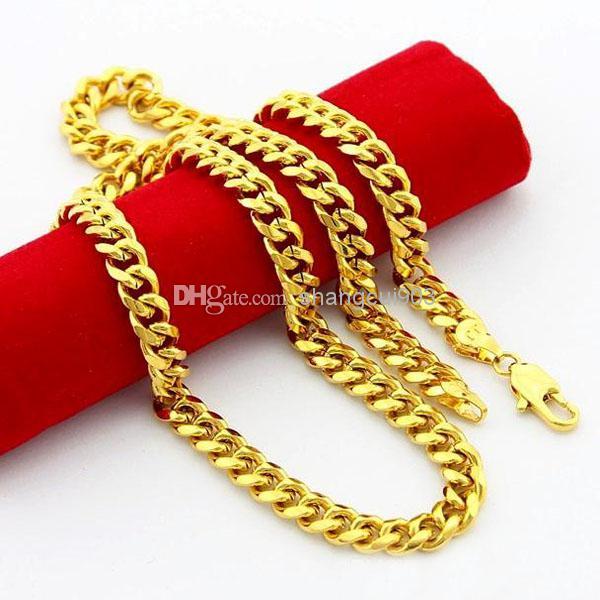 فريدة من نوعها للرجال قلادة 24K مطلية بالذهب والمجوهرات احدث اسلوب عرض 6.5mm كبح الرجال سلسلة قلادة 52CM الأزياء الساخن بيع