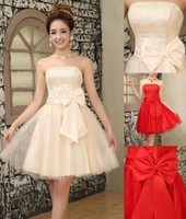 Wholesale Big Bow Mini Dress - Zero profit! cheap new Big bow bridesmaid dress, prom dress, cocktail dress, lace short dress, Graduation Dress party dress, evening dress