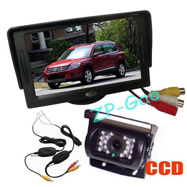 Wireless 18 LED IR CCD Reversione della fotocamera di backup Waterproof + 4.3