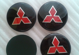 Wholesale Mitsubishi Logo Badge - 4X55mm Mitsubishi Car Wheel Center Trims stickers Cap Badge Adhesive Logo Emblem
