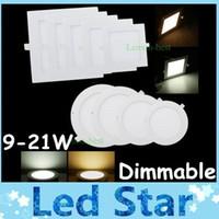 driver led delgado venda por atacado-Quadrados / redondos 9W / 12W / 15W / 18W / 21W Luzes de painel finas reguláveis com iluminação embutida Downlights de 4
