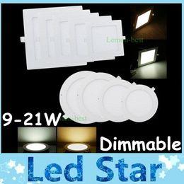 "Cuadrado / Redondo 9W / 12W / 15W / 18W / 21W Luces LED de panel delgado regulables Downlights empotrados 4 ""/ 5"" / 6 ""/ 7"" / 8 ""AC 110-240V + Controladores en venta"