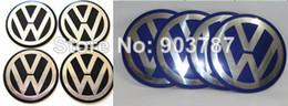 Wholesale Wheel Center Cap Badges - 20pcs lot Alloy 3D VW Wheel Center Cap Sticker 90mm 55mm 56mm 60mm 65mm 70mm black   blue Badge wholesale volkswagen