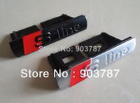 Wholesale Chrome Metal Clip - 100pcs chrome metal sline grill emblem with clips silver   black metal s line grill badge wholesale