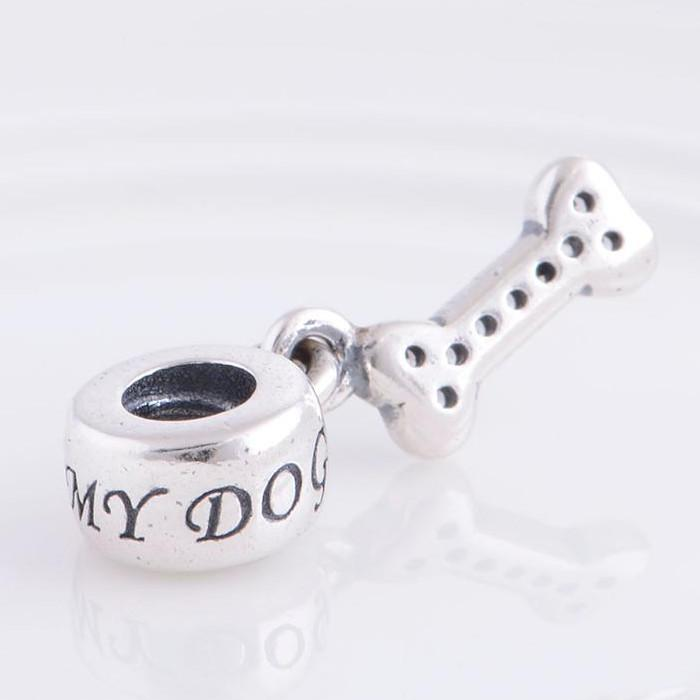 925 Sterling Silver Screw I Love My Dog Dangle Charm Bead Fits European Pandora Jewelry Bracelets & Necklaces Necklaces & Pendants