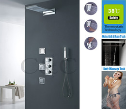 $enCountryForm.capitalKeyWord NZ - Wall Mounted Thermostatic Rainfall Shower Set 55X23CM Dual Rain And Waterfall Shower Head And Body Spray Jets 009-55X23-3MF