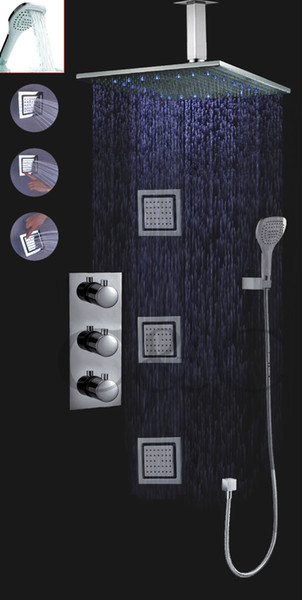 Thermostatic Bathroom Shower Faucet Set For Bath With 16 Inch LED Rainfall Shower Head Set Massage Spray Jets 007-16-3MH