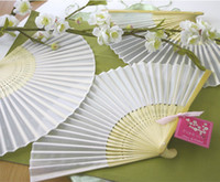 Wholesale Red Chinese Silk Fan - Chinese Silk Bamboo Hand Fans Wedding Fan Bridal Accessories 2015 New Arrival Party Gift different color H110