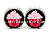 Wholesale Cute Flesh Tunnels - wholesa body jewelry Cute Cupcake logo stainless steel double flare ear plug gauge flesh tunnel ear expander 60pcs lot SDF0035