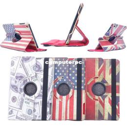 Wholesale Ipad Uk Flag - ( 3pcs set for 1 case + 1 pen + 1 SP)For ipad mini Rotating Retro USA & UK National Flag Stand Leather Wallet Case for iPad Mini
