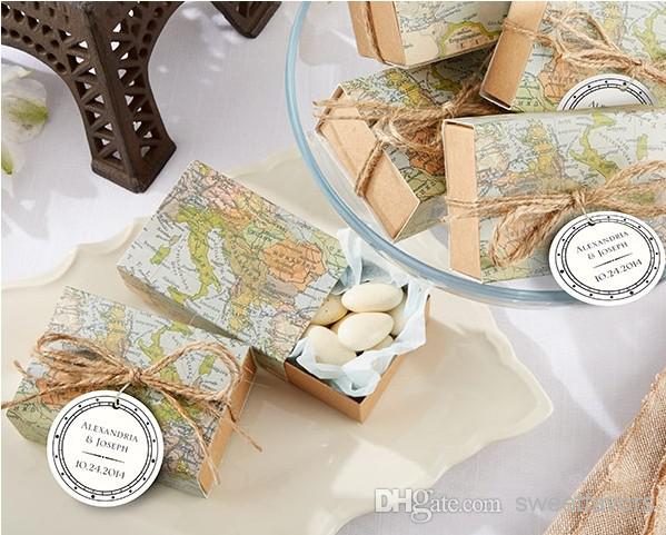around the world map favor box candy box baby shower wedding favors