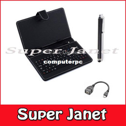 """Wholesale Otg Usb Lenovo - 1 Pc lot Leather Case USB Russian Keyboard for 7"""" 8"""" 9"""" 9.7"""" 10.1"""" Inch Tablet PC +Stylus Capacitive Pen + Two OTG Cables"""