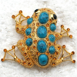 Wholesale Turquoise Pins - Wholesale Faux Turquoise Brooch Rhinestone Frog Pin brooches Men's Woman Accessories C101623