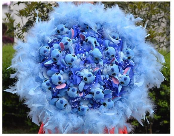 2014 Ny Blue Stitch Doll Bouquet 21 Stitch med lager Fjäder Bra present till semester / Födelsedag Gratis frakt